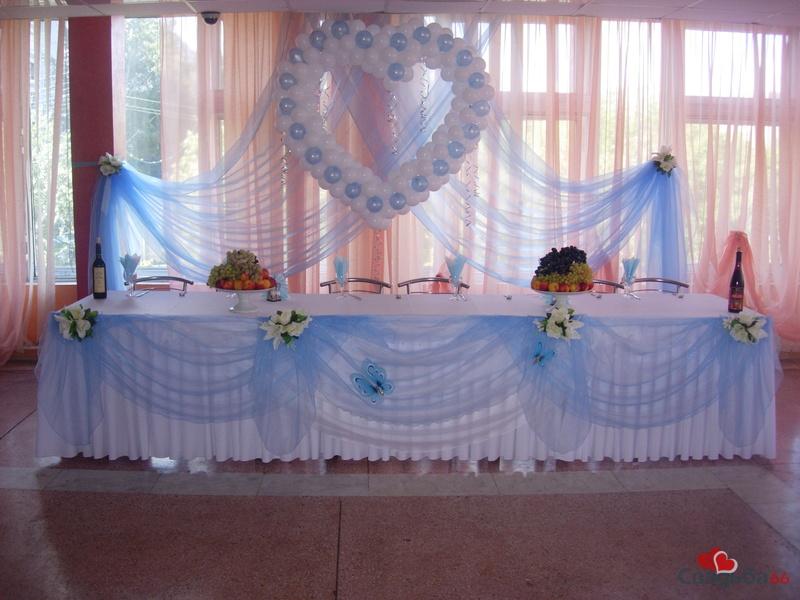 Оформление свадебного зала голубой с