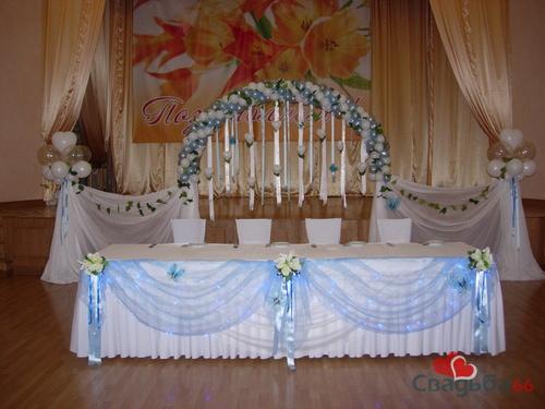 Оформление свадебного зала голубой в